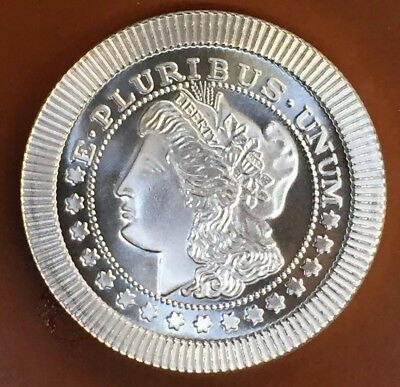 """Morgan Dollar"" Type Stacker Locking 1 Troy Oz Ounce .999 Silver Coin Art"