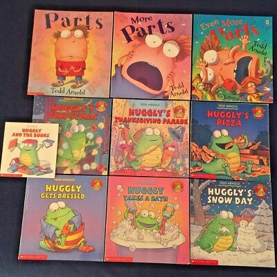 Lot of 10 Children's Picture Books by Tedd Arnold: Huggly and Parts Series  PBs