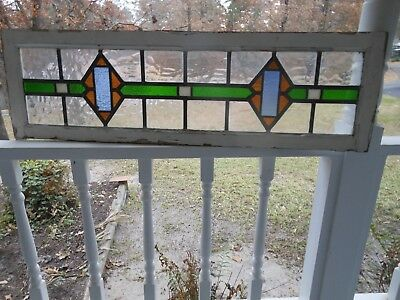 LA-13 Lovely Older Transom Style Leaded Stained Glass Window F/England