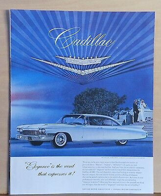 1960 magazine ad for Cadillac -  Elegance is word that expresses it, white car