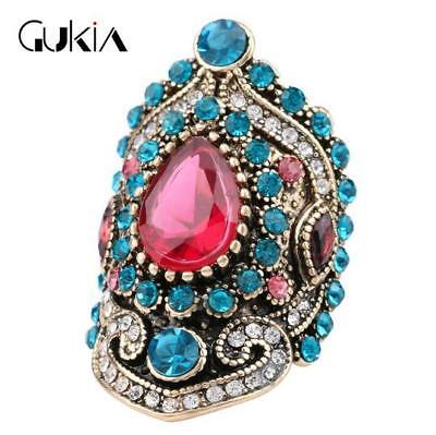 HOT Luxury Men's Woman Gold Inlaid multicolor Stone Crystal Female Ring Size 8