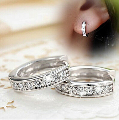 Charming 18k White Gold Filled CZ Sapphire Stud Earrings Hoop Woman Jewelry Gift