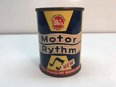 Vintage Whiz Motor Rythm Oil Can Advertising Tin Can Coin Bank Hollingshead Corp