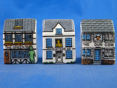 Fine China Thimbles - Set Of Three Miniature House Style - Village Inns