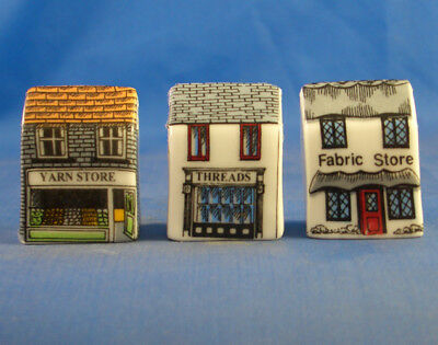 Fine China Thimbles - Set Of Three Miniature House Style -  Fabric Stores