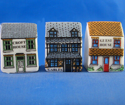 Fine China Thimbles - Set Of Three Miniature House Style - Bed And Breakfast