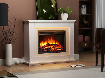Endeavour Fires Castleton Electric Fireplace in an Off White MDF fire suite-