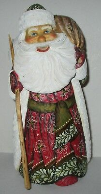 """Russian Hand Carved Wooden  Santa Claus  Christmas Handmade Painted 8"""" Figure"""