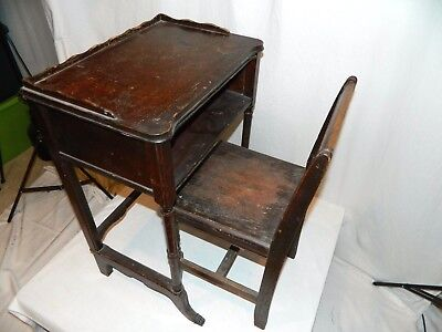Antique 19th-20th Century Wood School House Desk with Chair