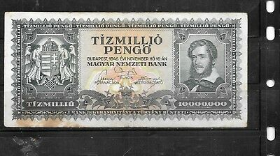 Hungary #123 1945 Million 10 Pengo Good Circ Old Banknote Paper Money Note Bill