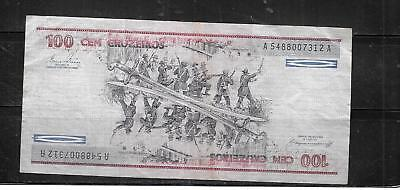 BRAZIL #198b 1984 VG CIRCULATED 100 CRUZEIROS OLD BANKNOTE PAPER MONEY NOTE BILL