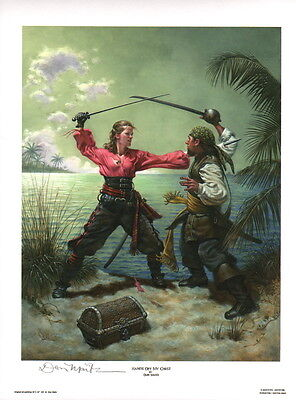 HANDS OFF MY CHEST Don Maitz Signed Maritime Art Print Pirate Treasure & Lass