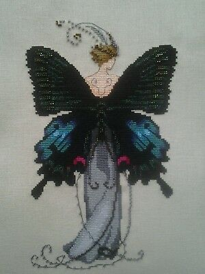 "Nora Corbett ""Miss Black Swallowtail"" Butterfly Completed Cross Stitch"