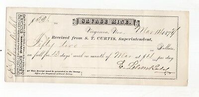 1874 Receipt From Savage Mines, Virginia, Nevada for 13 Days Work
