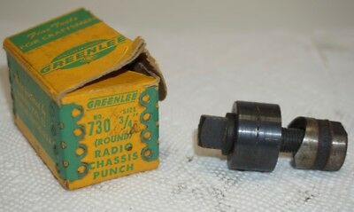 "GREENLEE 3/4"" (Round) Radio Chassis Knockout Punch #730 w/Original Box"