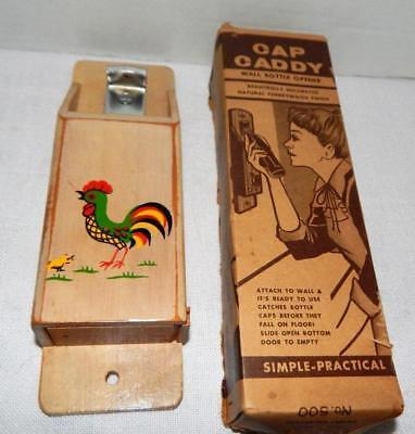 Vintage CAP CADDY Wall Bottle Opener With Rooster Decoration - In Original BOX