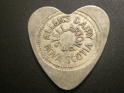 Allen's Dairy Token Stellarton Nova Scotia   Milk Token  Heart shaped