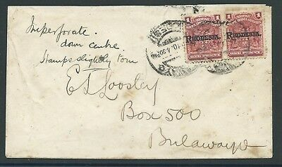 Rhodesia 1905 1d Arms 'Imperforate between' pair on cover