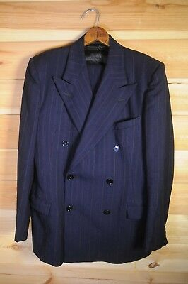 Vintage British 1940's Demob CC41 Style Pinstripe Blue Double Breasted Suit