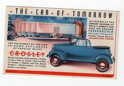 1930s Advertising Postcard for Crosley Automobile