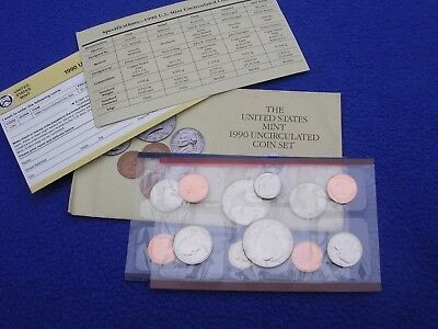1990 P & D US Mint Uncirculated 10 Coin Set  With COA