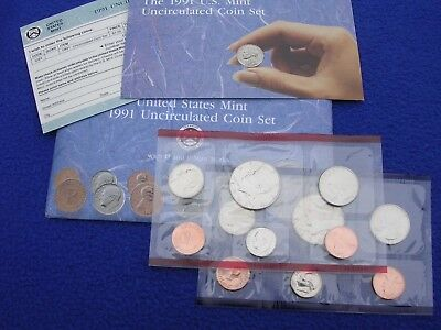 1991 P & D US Mint Uncirculated 10 Coin Set  With COA