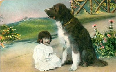 Old Postcard PC Landseer Newfoundland Dog & Child c1910 Germany