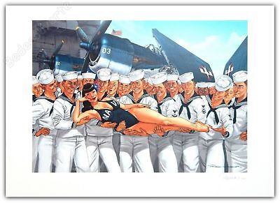 Affiche Romain Hugault Pin-up Wings Avion Navy Signée 50x70 cm