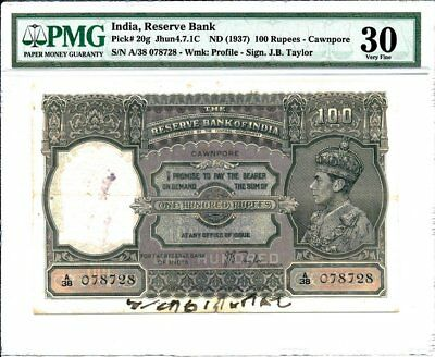 Reserve Bank of India India  100 Rupees ND(1937) Cawnpore. Rare PMG  30