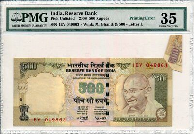 Reserve Bank  India  500 Rupees 2008 Printing Error PMG  35