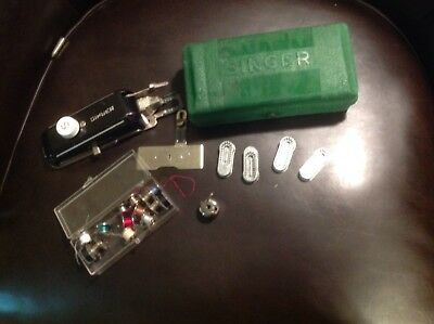 Vintage Singer Sewing Machine Case With Parts and Bobbins