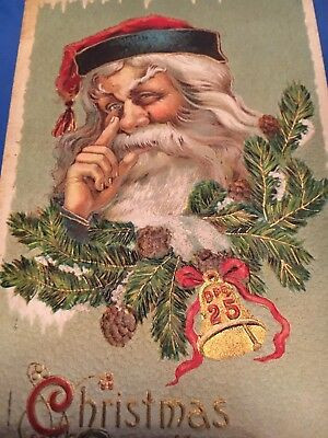 1912 Antique Victorian Christmas Card  Great Santa Claus Art-Check the Pictures!