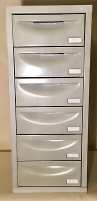 Pierre Henry 6 Drawer A4 Filing Cabinet Mini Gray Chest Used