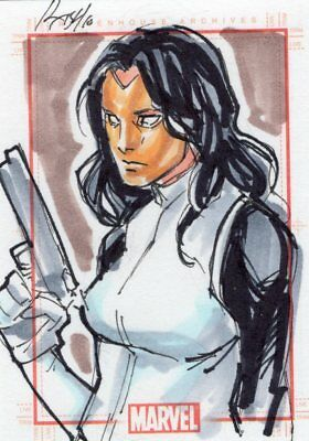 Marvel 70th Anniversary -  Color Sketch Card by Laurange - Black Widow