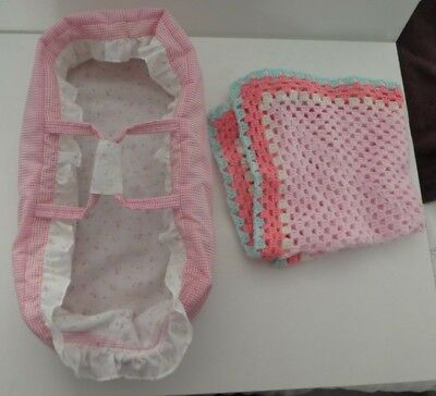 """Pink Check Carry Cot For 14"""" Baby Doll + Crochet Blanket    Toys R Us"""