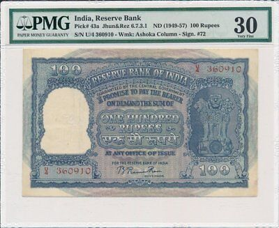 Reserve Bank of India India  100 Rupees ND(1949-57)  PMG  30