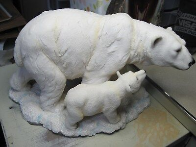 Pre-Owned Large Polar Bear Mother & Cub Statue