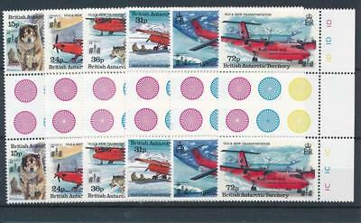 [58280] British Antarctic 1994 Dogs Planes good set Gutter pairs MNH VF stamps