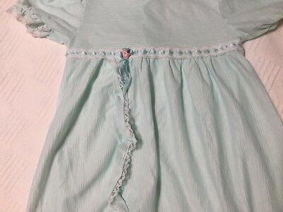 Vtg I.C baby girls nylon ruffle trim lingerie long Nightgown 2T Blue