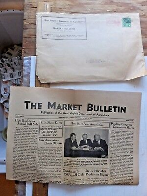The Market Bulletin. 1938 WV Dept. of Agriculture Newspaper- Lots of classifieds