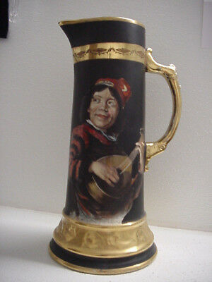 """EGYPTIAN ART WARE LARGE HAND PAINTED TANKARD PITCHER, VINTAGE or ANTIQUE, 12"""" TA"""