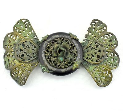 Antique Victorian Art Nouveau filigree Flower Design Resin Circle Ornate Pin