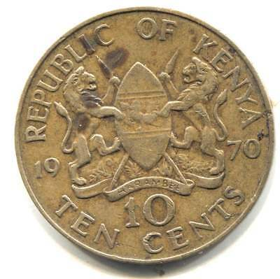 1970 Large Kenya Ten Cents Coin - Mzee Jomo Kenyatta - 10 Cents