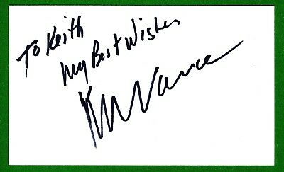 Kenny Vance Singer, a film score Composer, an Actor Signed 3x5 Index Card T2663