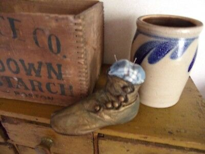 antique high button childs shoe stuffed with early homespun aafa