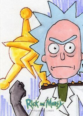 """2018 Cryptozoic Rick and Morty Color Hand Drawn Sketch Card by Dave """"Pops"""" Tata"""