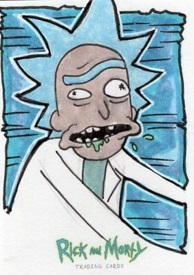 2018 Cryptozoic Rick and Morty Color Hand Drawn Sketch Card by John Johnston