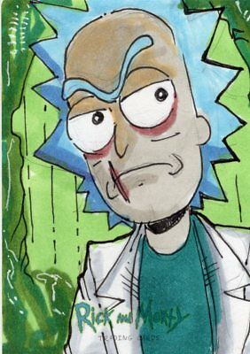 2018 Cryptozoic Rick and Morty Color Hand Drawn Sketch Card by Kevin Sharpe