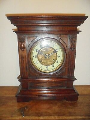Antique Victorian Rosewood Mantle Clock. 8 Day, Working Order With Original Key