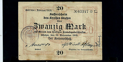 Notgeld  Germany Stuhm - 13 November 1918 - 20 Mark //915